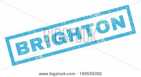 Brighton text rubber seal stamp watermark. Tag inside rectangular shape with grunge design and scratched texture. Inclined vector blue ink sticker on a white background.