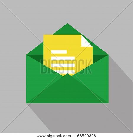 Mail with message flat icon with long shadow.