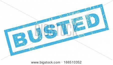 Busted text rubber seal stamp watermark. Caption inside rectangular banner with grunge design and scratched texture. Inclined vector blue ink emblem on a white background.