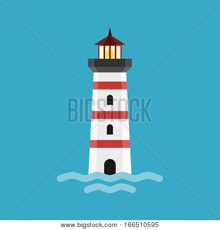 Cartoon lighthouse. The beacon is isolated on blue background. Illustration in modern flat design.