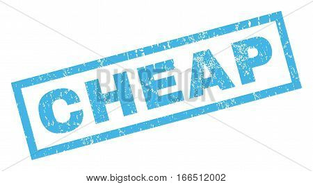 Cheap text rubber seal stamp watermark. Caption inside rectangular shape with grunge design and unclean texture. Inclined vector blue ink emblem on a white background.