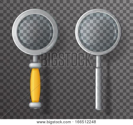 Magnifying Glass Loupe Icon Search Symbol Realistic Cartoon Design Transparent Background Vector Illustration