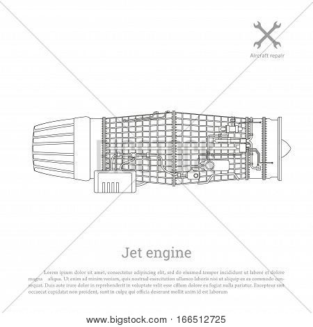 Jet engine in a outline style. Part of the aircraft. Side view. Vector illustration