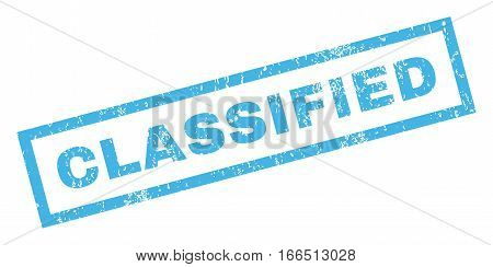 Classified text rubber seal stamp watermark. Caption inside rectangular shape with grunge design and unclean texture. Inclined vector blue ink sticker on a white background.