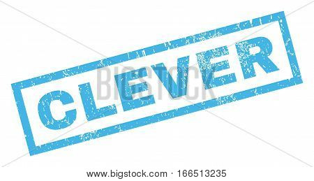 Clever text rubber seal stamp watermark. Tag inside rectangular banner with grunge design and scratched texture. Inclined vector blue ink emblem on a white background.