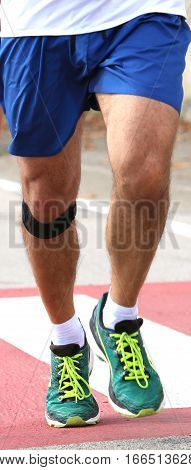 Athletic Runner With Elastic Band At The Knee