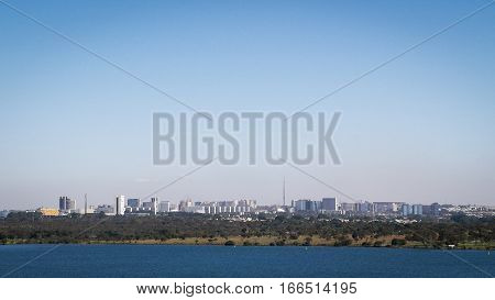 A view of the modern Brazilian capital city of Brasilia under clear sky copy space.