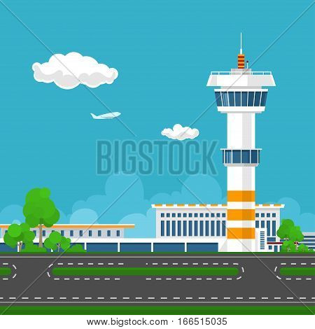 Airport Terminal, Runway at the Airport with Control Tower ,Travel and Tourism Concept