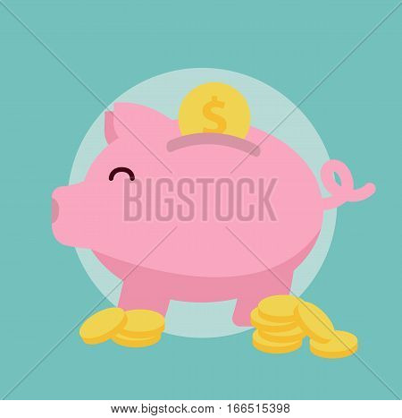 Piggybank symbol icon save money bank concept cash flat vector stock