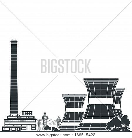 Silhouette Nuclear Power Plant and Text ,Thermal Power Station, Nuclear Reactor and Power Lines,Black and White Illustration