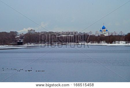 Russian Orthodox Church On The Riverside Of Moskva River