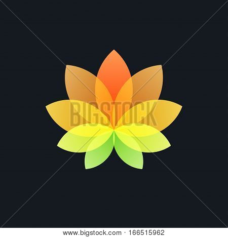 Colorful Translucent Flower on Black Background, Logo Design Element