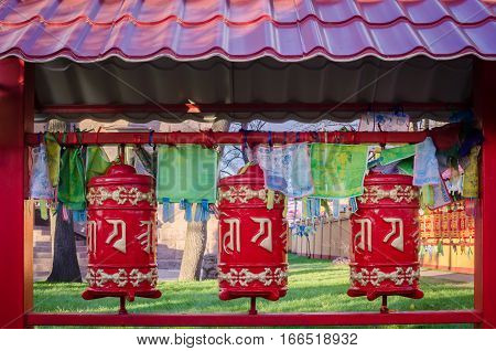 Buddhist prayer wheels in Saint-Petersburg Russia Buddhist Temple Datsan Gunzechoyney