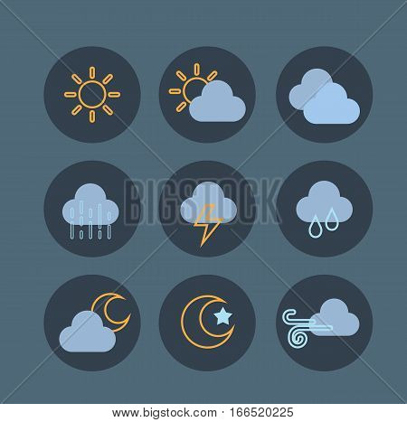 weather icons set collection symbol flat design vector stock