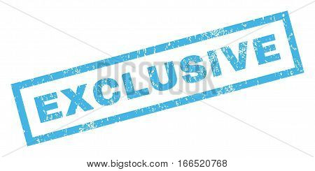 Exclusive text rubber seal stamp watermark. Caption inside rectangular shape with grunge design and dust texture. Inclined vector blue ink sign on a white background.
