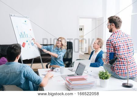 Information to consider. Cute blonde nice woman holding a highlighter and pointing with it at the whiteboard while presenting a report to her colleagues