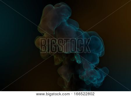 Abstract Blue Orange Background with Thin and Glowing Curl of Smoke or Ink. Luminescence Macro Texture. 3D Render Illustration.