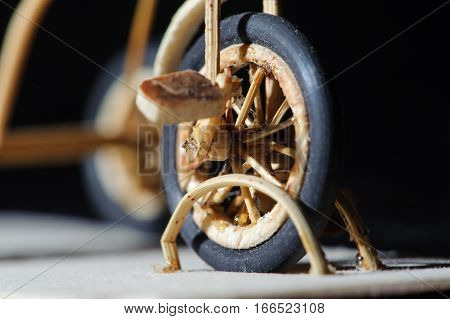 Miniature Handicraft Detail Shot Of Wooden Bicycle