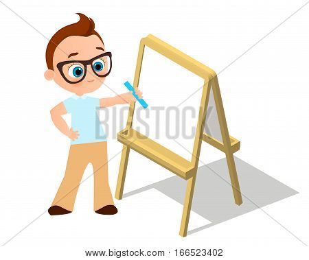 Isometric easel. Young boy with glasses Drawing Whiteboard. Paint desk and white paper isolated on white background. Vector illustration eps 10