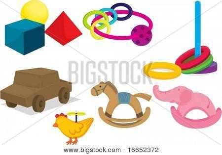 ilustração de vários brinquedos em um fundo branco