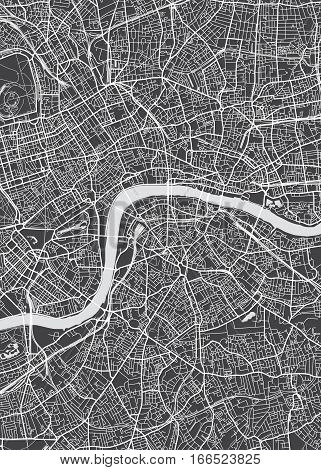 London city plan, detailed vector map view from above