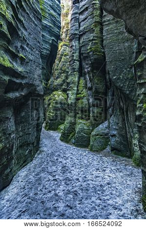 Mysterious labyrinth of sandstone Adrspach-Teplice Czech Republic Europe