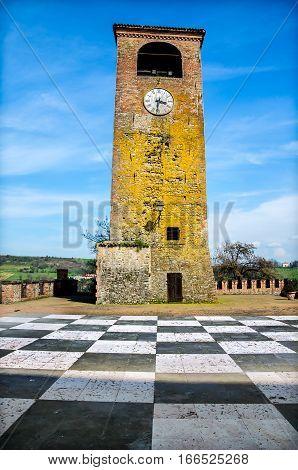 Castelvetro Modena clock tower checkerboard floor emilia romagna