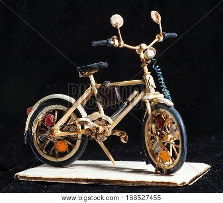 Miniature Handicraft Of Wooden Bicycle