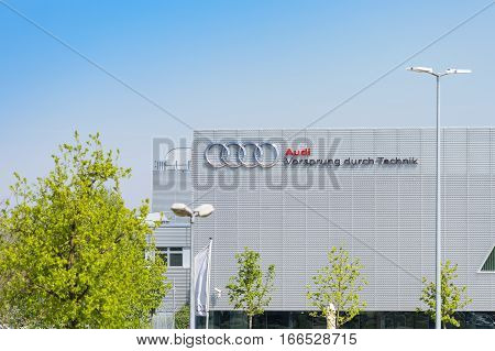 Munich Germany - May 6 2016: New modern building of Audi Training Center with German inscription