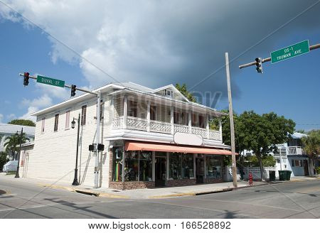 The crossroad of two main streets in Key West the southernmost city in the U.S.A. (Florida).