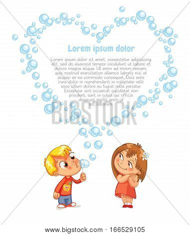 The boy swindled heart from bubbles. Advertising brochure for Valentine's Day. Funny cartoon character. Lorem ipsum. Vector illustration. Isolated on white background