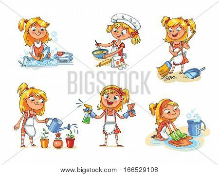 House cleaning. Girl is busy at home: watering flowers, washing dishes, sweeping dust with a broom, washing the floor, preparing to eat, cooking. Funny cartoon character. Vector illustration