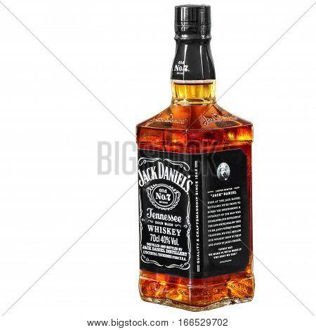 Russia Ekaterinburg - February 21 2016: Bottle of Jack Daniels bourbon whiskey isolated on white background.