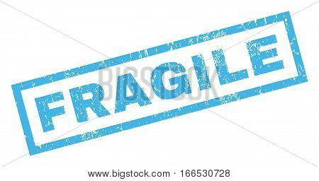 Fragile text rubber seal stamp watermark. Caption inside rectangular shape with grunge design and scratched texture. Inclined vector blue ink sticker on a white background.