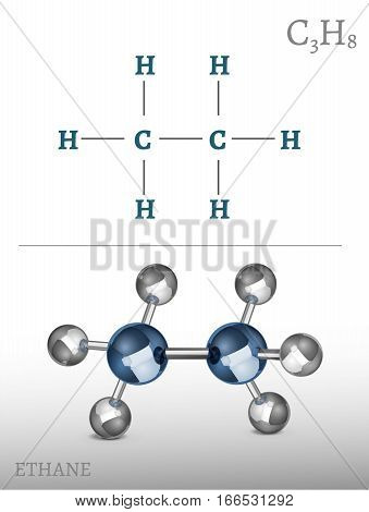 Ethane molecule in 3D style. C2H6 vector illustration isolated on a light grey background. Scientific, educational and popular-scientific concept.