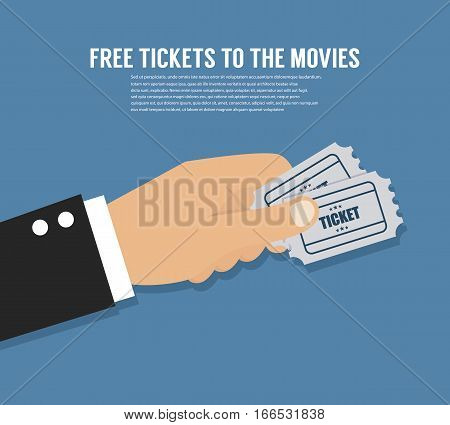Hand holding tickets.  Vector template for website