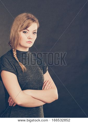 Angry Resentful Young Blonde Woman.