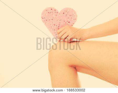 Woman Holding Heart Sponge