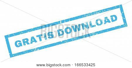 Gratis Download text rubber seal stamp watermark. Caption inside rectangular banner with grunge design and dirty texture. Inclined vector blue ink sign on a white background.