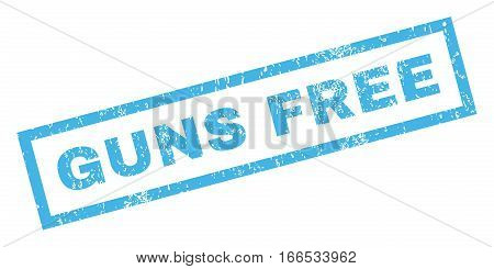 Guns Free text rubber seal stamp watermark. Caption inside rectangular banner with grunge design and unclean texture. Inclined vector blue ink sticker on a white background.