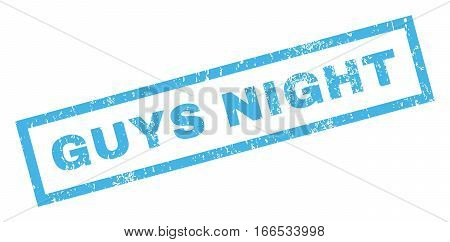 Guys Night text rubber seal stamp watermark. Tag inside rectangular banner with grunge design and dirty texture. Inclined vector blue ink sign on a white background.