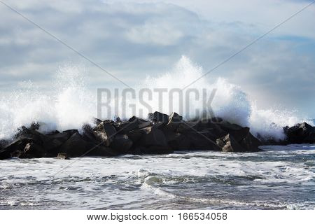 Stormy ocean waves. beautiful seascape. big powerful tide in action storm weather in a deep blue sea forces of nature natural disaster.ocean wave in the Pacific ocean