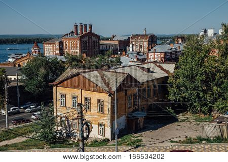 Cityscape view of Samara, old industrial buildings of Zhiguli Brewery poster