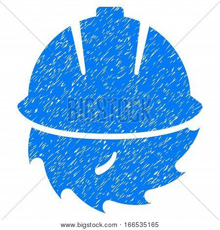 Circular Blade Safety grainy textured icon for overlay watermark stamps. Flat symbol with scratched texture. Dotted vector blue ink rubber seal stamp with grunge design on a white background.