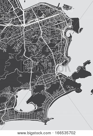Vector detailed map Rio de Janeiro view from above