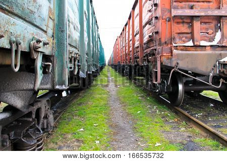 View beetween two freight trains on railroad