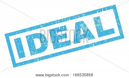 Ideal text rubber seal stamp watermark. Tag inside rectangular banner with grunge design and scratched texture. Inclined vector blue ink sticker on a white background.