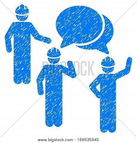 Engineer Persons Forum grainy textured icon for overlay watermark stamps. Flat symbol with scratched texture. Dotted vector blue ink rubber seal stamp with grunge design on a white background.