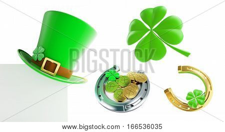 Set St. Patrick's day green hat horseshoe 3D illustration on a white background