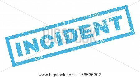 Incident text rubber seal stamp watermark. Caption inside rectangular banner with grunge design and dust texture. Inclined vector blue ink sign on a white background.